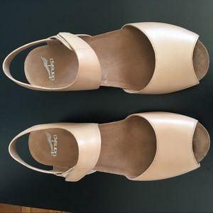 Dansko Vera Peeptoe Wedge Sandals Tan